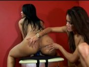 2 Hot Brunettes Lick And Fuck Each Other