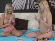 Girlfriends Cute lovers play cards and strip