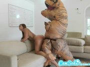 big ass latina teen chased by lesbian loving TREX on hoverboard then fucked