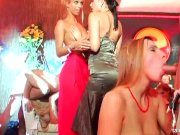 Sexy party chicks dancing and getting fucked