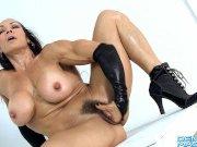 Female bodybuilder Denise Masino fingering her hairy cunt