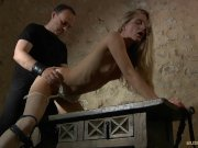 Delicate sub slave handcuffed punishment in bdsm breath playing
