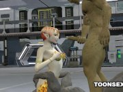 3D alien babe gets double teamed
