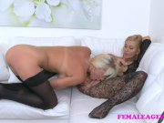 femaleagent big titted babe licks agent for money