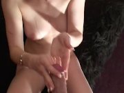 footjob makes daddy cover her in jizz