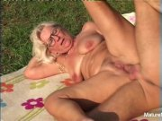 blonde grandma gets some jizz on her glasses