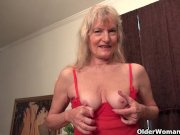 granny claire nails herself with a dildo
