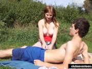 Chesty teen gets nailed outdoors