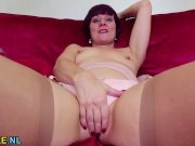 redhead mature masturbating in stockings