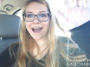 Cute Blonde Talking Sexy In Her Car