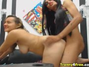 Hot Shemale and Girl Hard Fucking Action