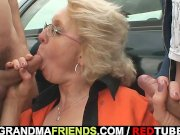 blonde granny has threesome outdoors – group sex