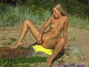 Lesbian drink pee outdoor firs