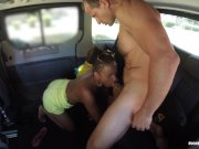 Fucked In Traffic - Black Czech babe gets cum covered in steamy car fuck