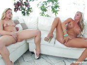 blonde hotties samantha and dahlia fuck on the couch – Free Porn Video