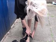 Masturbation amateur of hot blonde known in the street