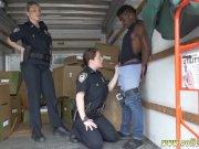 Ebony police strapon first tim