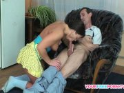 brunette nasty teen bangs plumber