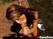 Carmen giving outdoor blowjob