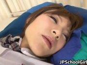 Cute Asian sleeping girl gets