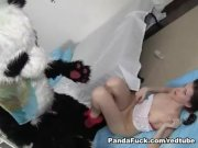 Pretty nurse cures panda