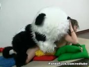 Sporty sexy teen fucks with panda