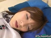 Cute Asian sleeping girl gets