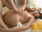 Young Asian has massage with plenty of oil