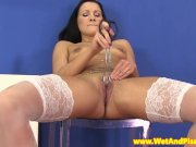 Pee fetish babe spreads her pussy open