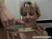 Amateur girlfriend double teamed with cum