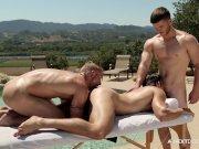 NextDoorBuddies Poolside Massage Threesome FU