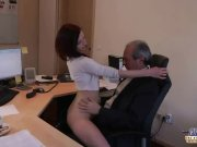 Horny young secretary hardcore oral fucking old boss swallows cumshot