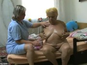 OldNanny Chubby granny masturbation, Nice threesome, young girl and guy