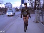 Jeny Smith bottomless pantyhose public walk