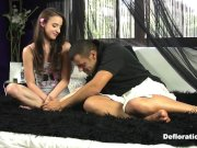 Defloration of Amira - porn actor seduces beginner virgin model