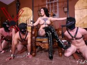 ClubDom Femdom Gets Off Then Ass Fucks Her Slaves