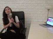 Asian teen having intense orgasm with magic wand