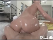 LUBED Lubed up Jill Kassidy slip and slides on big dick