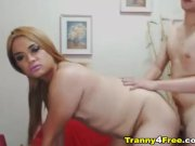 Hot Tranny Couple Plays with Cock and Ass
