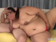 Big fatty takes fat cock in asshole and eats cum