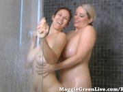 Busty Babe Maggie Green Rubs Big Tits on GF in Shower!