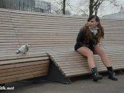 Jeny Smith upskirt no panties pantyhose in public