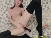 Amateur Brunette Babe Masturbating with Dildo