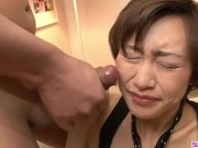 Akina Hara sucks on several dicks in a series of sloppy oral scenes