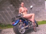Hot motorcycle babe strips for