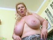 OldNannY Busty Mature Masturbation In The Kitchen