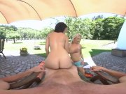 Hot outdoor summer lesbo threesome party with Cayla and Alex in VR