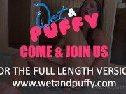 Wetandpuffy - Nicolette Noir masturbates with a glass bottle in the sauna