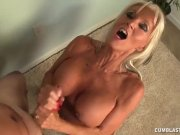 Topless granny handjob