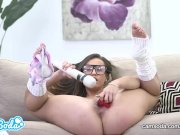Kelsi Monroe big ass brunette masturbating with multiple toys.